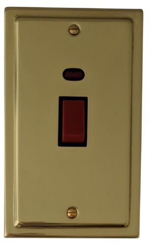 G&H TB28B Trimline Plate Polished Brass 45 Amp DP Cooker Switch & Neon Vertical Plate